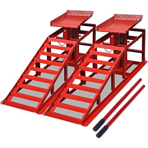 vidaXL 2X Auffahrrampe mit Wagenheber Rot Stahl PKW Auto Rampe Hebebühne