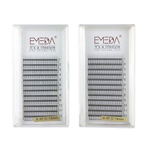emeda 2 paquetes 3d W volumen grupo extensión de pestañas natural falsas pestañas individuales pestañas 0,07 C Curl 12 14 mm kit extensiones de pestañas 3D