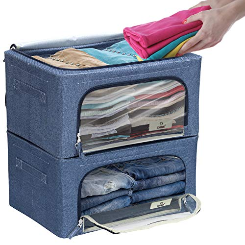 Sorbus Storage Bins Boxes Foldable Stackable Container Organizer Basket Set with Large Clear Window amp Carry Handles for Bedding Linen Clothes Small Blue 2Pack