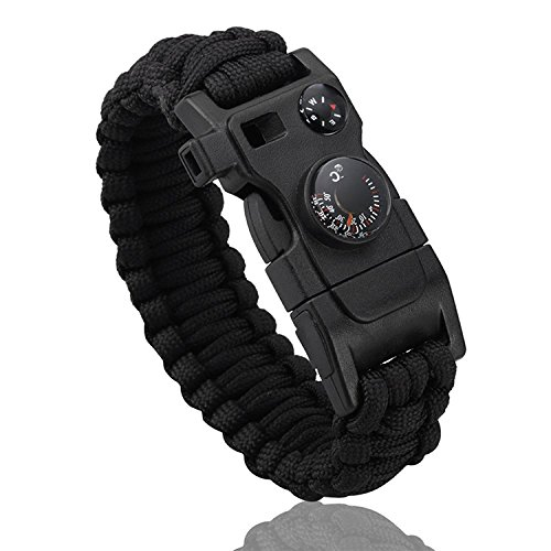 Premium Quality Camping Gear Paracord Survival Bracelet - Best Safety Band for Camping and Hiking Compass, Thermometer, Fire Starter, Emergency Whistle,Knife,Screwdriver (Black)