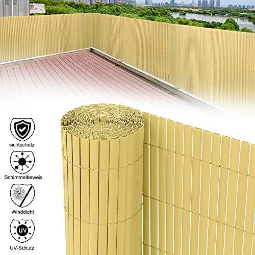 HENGMEI 500x180cm PVC Sichtschutzmatte Sichtschutzzaun Bambus - Zaun Sichtschutz Windschutz Blickdicht fur Garten, Balkon und Terrasse (500x180cm, Bambus)