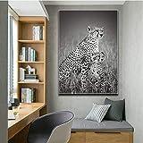 ganlanshu Cartel de Pintura Animal Leopard Wall Art Painting Poster Lienzo Pintura decoración del hogar Sala de Estar,Pintura sin Marco,80X120cm