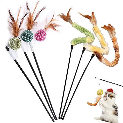 Katzenspielzeug, Federspielzeug, Katze Spielzeug, Ball interaktiv, mit Feder, Spielzeug zum Trainieren von Kätzchen oder Katze