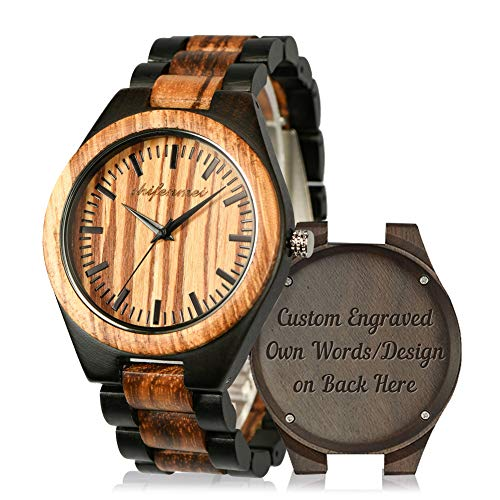 Wooden Men Watches, shifenmei Natural Handmade Wood Watch Analog Japanese Quartz Movement Wood Wrist Watch for Mens with Exquisite Box (C-Custom 01)
