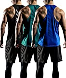 ATHLIO Men's Workout Muscle Tank Sleeveless Racer Y-Back Gym Training Cool Dry Top, Active Y-Back 3pack(ctn03) - Black/Teal/Blue, Medium