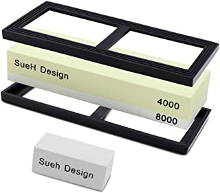 SueH Design 2-in-1 Sharpening Whetstone Kit | 4000/8000 Grit Knife Sharpener | Ideal for Kitchen Knives, Scissors, Pocket Knives and Axes | Flattening Stone and Manual Included