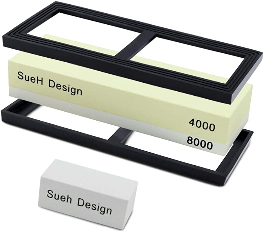 SueH Design 2 In 1 Sharpening Whetstone Kit 4000 8000 Grit Knife Sharpener Ideal For Kitchen Knives Scissors Pocket Knives And Axes Flattening Stone And Manual Included