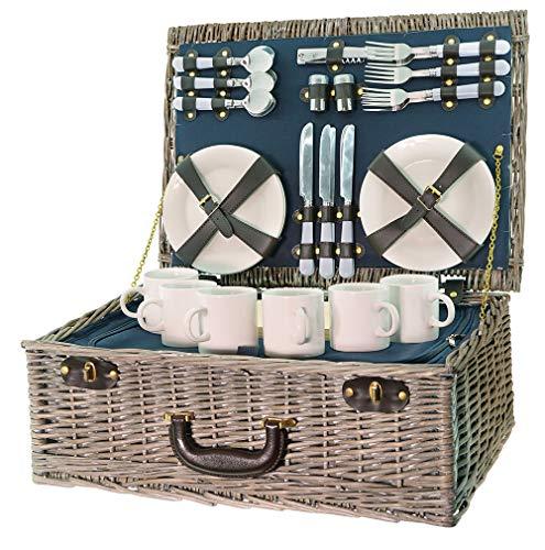 Smak | Picknickkorb aus Weidengeflecht | Camping geschirr Set 6 Personen | Picknickkorb Kinder 6 Personen | mit Kühltasche für Familie| Picknick-Set für Outdoor Camping | Geschirr weiss || Kaufbei