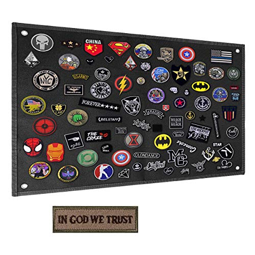 Shidan Taktisch Board Patch Organizer Inhaber Display mit Klettverschluss und Ösen + IN GOD WE Trust