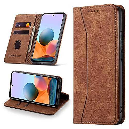 Leaisan Handyhülle für Xiaomi Redmi Note 10 Pro Hülle Premium Leder Flip Klappbare Stoßfeste Magnetische [Standfunktion] [Kartenfächern] Schutzhülle Tasche - Braun