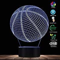 3Dバスケットボール錯覚照明アートLEDライトランプ彫刻ナイトライトスポーツボール3Dビジュアルランプギフト用アスリート
