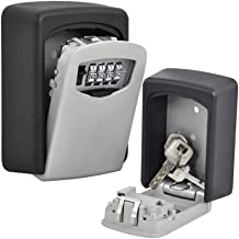 Bloodyrippa Wall Mount Entry Key Lock Box, 4-Digit Settable Combination Lock, Weather Resistant Steel, Hold Up to 5 Keys, Ideal for Realtors, Airbnb, Carers, Students & Housemates