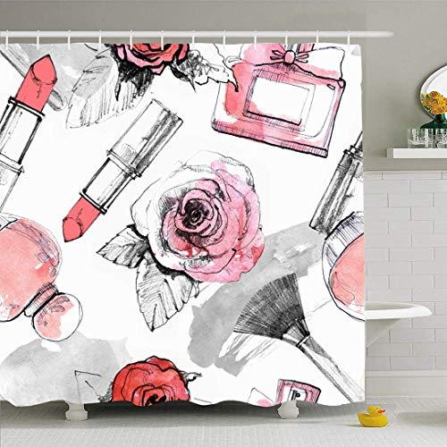 Duschvorhang Set mit Haken Parfüm Gezeichnete Rote Blumen Lippenstift Make-up Pinsel Muster Schönheit Mode Abstrakte Texturen Duft Wasserdichter Polyester Stoff Bad Dekor für Badezimmer