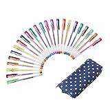 Exerz ART EXGL24B - 24 esferos de gel de colores con cartuchera - esferos con bolígrafo de tinta fina, incluye esferos con tonos de escarcha, neón, metálicos, y neón escarchado - azul