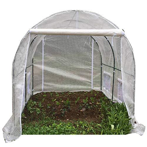 Plastico Invernadero Huerto Terraza Grande Marco de Acero Al Aire Libre Invernadero de Patio con Acceso Al Jardín Poly Tunnel - Blanco, 2m / 3m / 4m / 5m / 6m Largo (Size : 300x200x200cm)