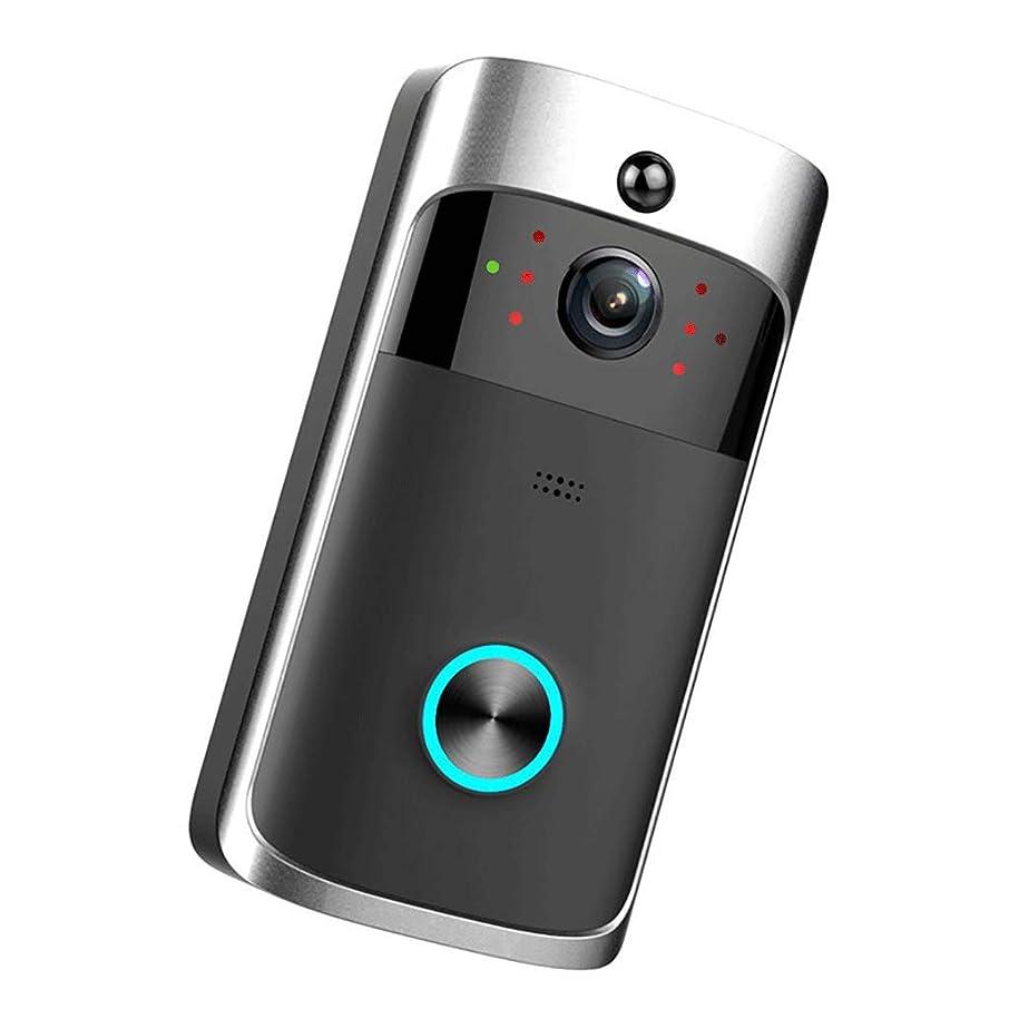 呼吸するウミウシ貨物ワイヤレスカメラビデオドアベル、720P HD WiFiスマートホームサーベイランス双方向トークナイトビジョン166°広角動作検出 (Color : 黒)