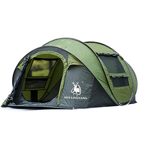FUSIONLC Automatic Pop-up Tent for Outdoor Camping Waterproof Quick-Opening Tents 4 Person Canopy with Carrying Bag Easy to Set up By 290 * 200 * 130CM, Green