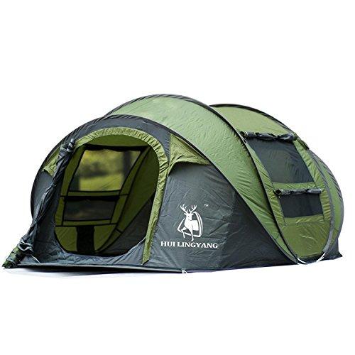 FUSIONLC Automatisches Pop-Up-Zelt für Outdoor Camping Wasserdicht Schnellöffnende Zelte 4 Personen Baldachin mit Tragetasche, einfach aufzubauen von 290 x 200 x 130 cm, grün