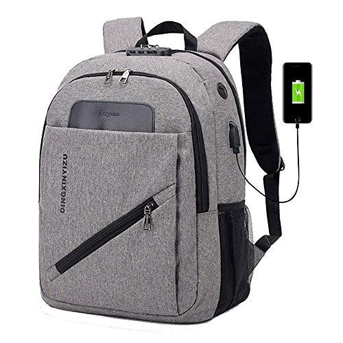 HYCy Mode Laptop Rucksack, Diebstahlsicherung Tagesrucksack Mit USB-Aufladung/Kopfhouml;rer Hafen, Wasserdicht Hochschule Schultasche Arbeit Backpack Zum Mauml;nner Frauen (Farbe : Gray)