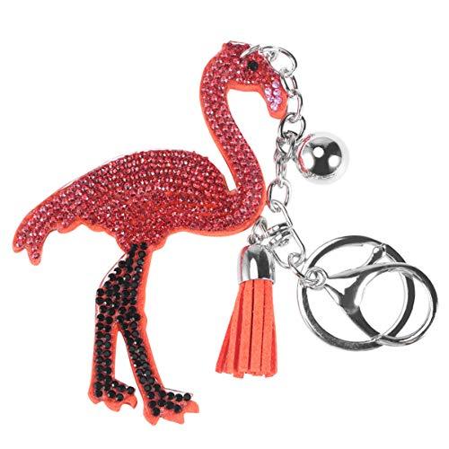 Tendycoco Diy Flamingo Diamant Schilderij Keychains Cartoon Fluwelen Pommel Sleutelhanger Accessoires (Mandarine 2)