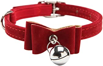 Red Cat Pet Collar kitten Velvet Bow Tie Neck Safety Bowtie With Bell by JUNDA