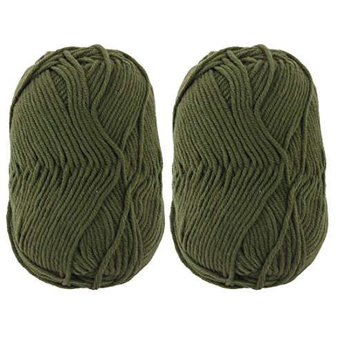 uxcell Home Handmade DIY Scarf Gloves Hat Socks Knitting Yarn Cord Rope 100g 2pcs Army Green