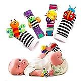 Baby Rattle Wrist Rattle Foot Finder Socks Set, Cute Animal Soft Cotton