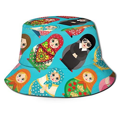 136 Felice Pasqua Tradizionale Russo Bambola Matryoshka Secchio Cappello Cappello Sole per Viaggi Estivi Spiaggia All'aperto UV Unisex Pescatore Cappelli