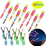 Rocket Slingshot Copters with LED Lights for Kids,12 Slingshot Helicopters 12 LED Helicopters,Amazing Arrow Helicopter Glow in The Dark Party Supplies for Kids(24 Pieces)