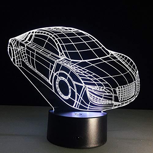 Cool Sports car 3D Lámpara de ilusión LED Luz nocturna Mesita de noche óptica Luces nocturnas 16 Cambio de color Botón táctil Decoración Lámparas de escritorio,
