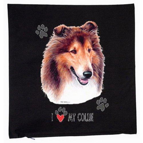Collie chiens housse de coussin 40 x 40 cm (noir)