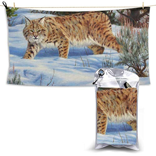 XCNGG Quick Dry Bath Towel, Absorbent Soft Beach Towels, Bobcat Small Snow for Camping, Backpacking, Gym, Travelling, Swimming,Yoga 28.7'' X 51''