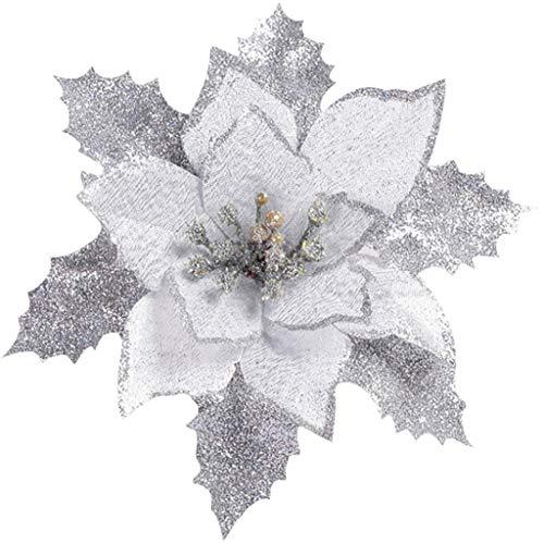 Lifet - Set di 12 Decorazioni per Albero di Natale a Forma di Stella di Natale, con Brillantini, Poliestere, Argento, 80 * 40 cm