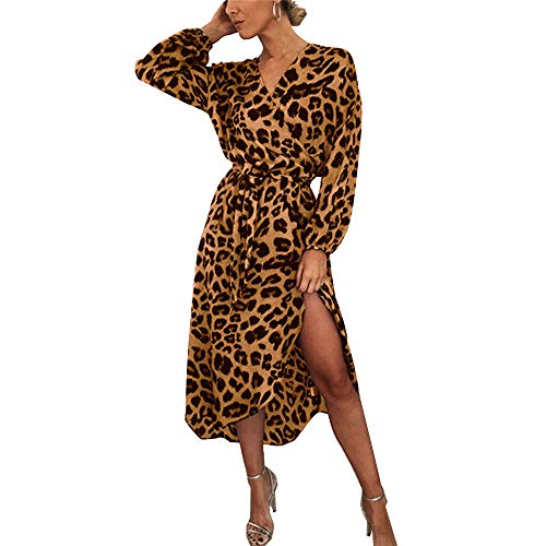 ODOKEI Damen Abendkleider Lange Leoparden Kleid Langarm Maxikleider Bohmischen Cocktailkleider Elegant Winterkleider Damen Kleid Leopardenmuster Leopardenkleid Party Kleider Braun S