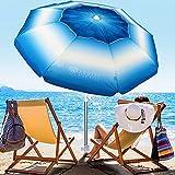 AMMSUN 6.5 ft Beach Umbrella with Sand Anchor, Portable Beach Umbrella for Sand Heavy Duty Wind, UV 50+ Sun Protection Umbrella for Beach Patio Garden Outdoor, Carry Bag - Dark Blue