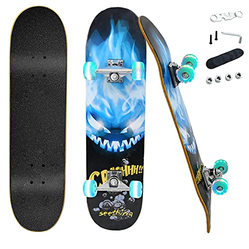 Skateboards for Beginners Kids Teens Adults Pro with Colorful Flashing Wheels,31''x 8'' Complete Standard Fortnite Skateboard for Boys Girls,9 Layer Maple Double Kick Deck Cruiser Skateboard Outdoors