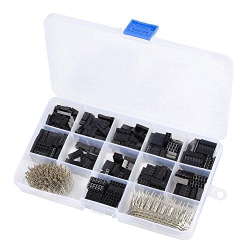 Eiechip 620pcs Pitch Connector 2.54mm, Cable Jumper Wire Pin Header Housing Kit, Male Crimp Pins+Female Pin Terminal Connector Female Pin Header Connector Kit