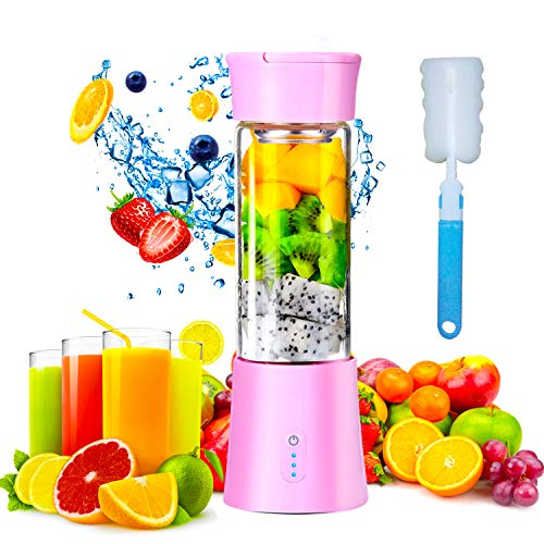 Portable Blender, Personal Size 380mL Rechargeable USB Juicer Blender With 6 Stainless Steel Blades, Baby Food Smoothie Milkshake Maker Juicer Cup, Fruit Mixer for Home Travel and Outdoor Sports