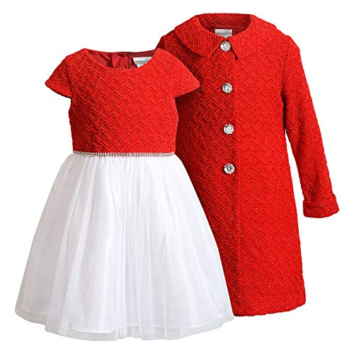 Youngland Girls' Textured Knit Coat Set with Faux Fur Trim and Matching Tulle Dress, Red/Ivory, 4T