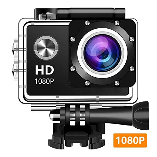 ZCFXGHH Tätigkeits-Kamera, 12MP 1080P 2 Zoll LCD-Schirm, wasserdichter Sport-Cam 140-Grad-Weitwinkelobjektiv, 30m Sport-Kamera-DV-Camcorder mit (schwarz)