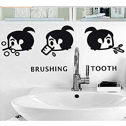 bloom Cartoon kleines Mädchen Bürsten Zahn Wandaufkleber Home Badezimmer Waschbecken Dekoration Wandkunst Aufkleber Nette Kinder Aufkleber Wallpaper