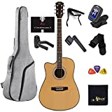 Left Handed Guitar Full Size Acoustic Spruce Cutaway for Beginners Students Kids with Online Lessons, Advanced Kit, 41 Inches