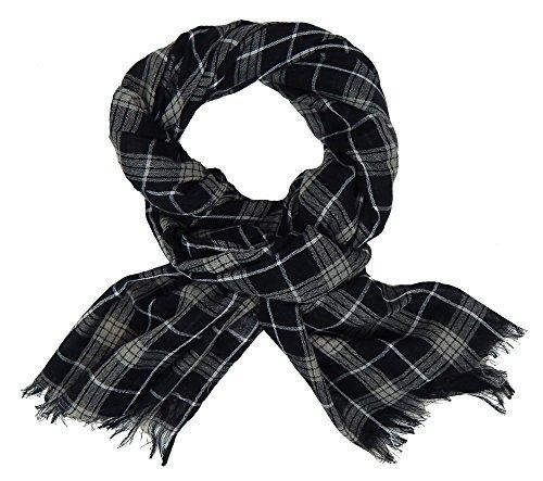 Ella Jonte Écharpes foulard d'homme élégant et tendance de la dernière collection by Casual-Style noir gris à carreaux - trés léger et agréable à port