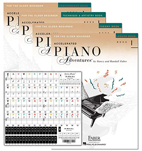 Accelerated Piano Adventures Level 1 Learning Set By Nancy Faber - Lesson, Theory, Performance, Technique & Artistry Books & Juliet Music Piano Keys 88/61/54/49 Full Set Removable Sticker
