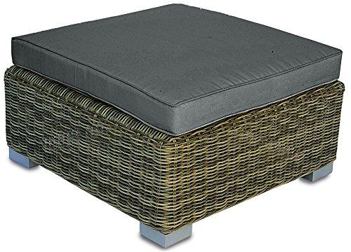 Table Basse/Pouf pour Ensemble de Jardin en tressage Wicker Ø 5 mm - Dim : H 30 x L 76 x P 76 cm