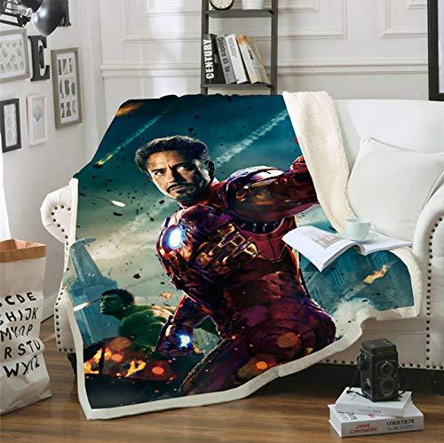 POMJK Manta de forro polar para niños, con Thor, Iron Man y Capitán América, 100% microfibra, manta infantil, manta para sofá, para picnics o camping (2,130 x 150 cm)