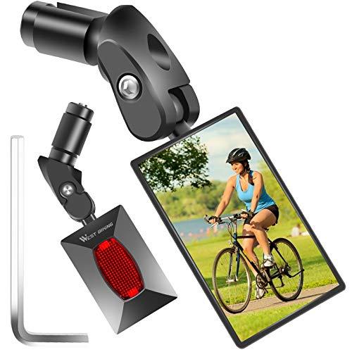 ICOCOPRO Fahrradspiegel, Rückspiegel Fahrrad-Lenkerenden, einstellbare 360°Drehung mit Rückreflektor, Mini Seitenspiegel Fahrradschutzspiegel, Links-Rechts Universell für Rennrad Mountainbikes