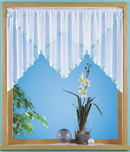 Minikuvertstore aus transparentem Sablé mit Satinband, Größe 80X140, Farbe grün