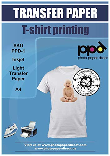PPD A4 x 5 Blatt Inkjet T-Shirt Transferpapier Transferfolie Bügelfolie für Tintenstrahldrucker und helle Textilien PPD-1-5