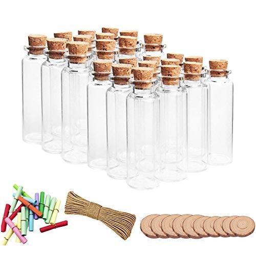 30 Mini Frascos de Vidrio con Tapón Corcho,20mL Mini Botellas de Cristal con Tapones de Corcho,Botellas de Deseo para Decoración de DIY,Especias, Boda, Comunión, Recuerdo de Fiesta